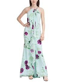 Floral-Print Cascade Gown