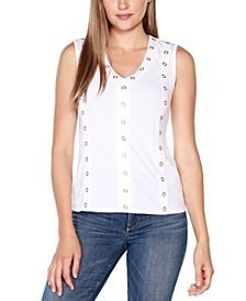 Black Label Embellished Sleeveless V-neck Top