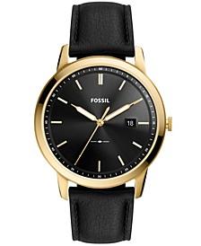 The Minimalist Solar-Powered Black Leather Watch, 44mm