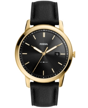 FOSSIL THE MINIMALIST SOLAR-POWERED BLACK LEATHER WATCH, 44MM