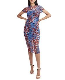Printed Mesh Midi Dress