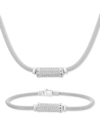 Cubic Zirconia Cylinder Mesh Link Bracelet in Sterling Silver