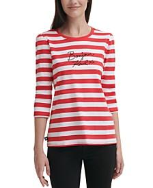 Striped 3/4-Sleeve Logo Top