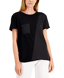 Petite Diagonal-Seamed Mixed-Media Knit Top, Created for Macy's