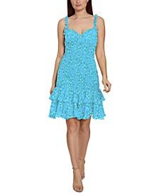 Smocked Ruffle-Hem Bodycon Dress