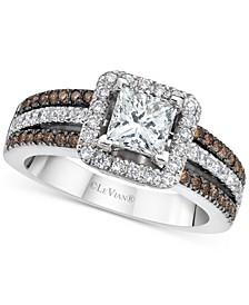Vanilla Diamond (1-1/4 ct. t.w.) & Chocolate Diamond (1/4 ct. t.w.) Princess Halo Multirow Ring in 14k White Gold