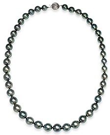 Tahitian Pearl Graduated Strand Necklace in 14k White Gold (8-10mm)