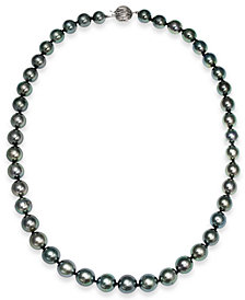 Tahitian Pearl Strand Necklace in 14k White Gold (8mm)