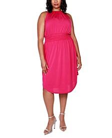 Black Label Plus Size Embellished Halter Dress with Smocked Waist