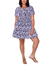 Black Label Plus Size Printed Burnout Dress with Smocked Waist and Tiered Hem