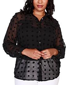 Black Label Plus Size Button-Front Clip-Dot Blouse