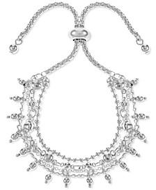 Silver-Tone Shaky Bead Layered Slider Bracelet, Created for Macy's
