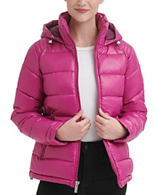 High-Shine Hooded Puffer Coat