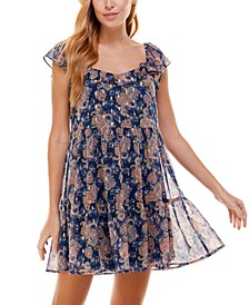 Juniors' Flutter-Sleeve Fit & Flare Dress