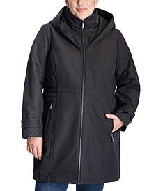 Plus Size Hooded Logo Print Raincoat, Created for Macy's