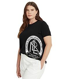Plus-Size Logo Short-Sleeve Sweater