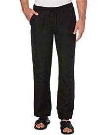 Solid Linen-Blend Drawstring Pants 32 Inseam