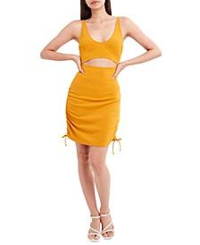 Waist-Cutout Side-Ruched Dress