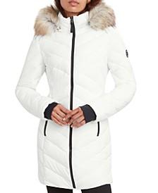 Faux-Fur-Trim Hooded Stretch Puffer Coat