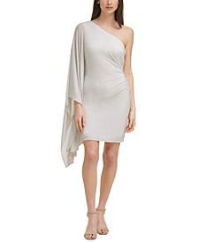 One-Shoulder Metallic Bodycon Dress