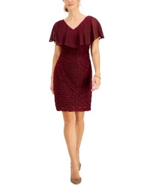 Chiffon-Overlay Eyelash Sheath Dress