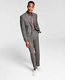 Men's Slim-Fit Brown/Black Mini-Check Suit Separates, Created for Macy's