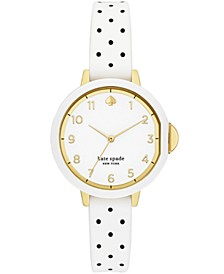 park row three-hand white and black polka dot-print silicone watch, 34mm