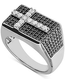 Men's Black & White Diamond Cross Ring (1-1/2 ct. t.w.) in Sterling Silver