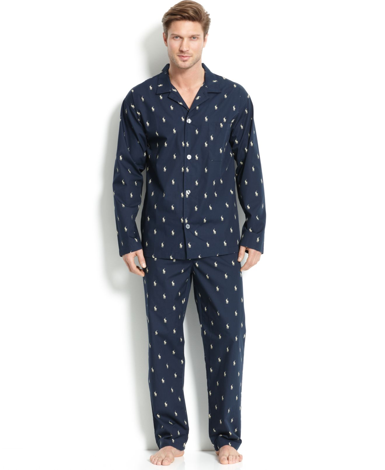More Details Neiman Marcus Woven Pajama Set with Piping Details EXCLUSIVELY AT NEIMAN MARCUS Men's two-piece pajama set. Contrast piping at collar, cuffs and pockets. Notched collar; button front. Chest and waist patch pockets. Matching pajama bottoms with adjustable waistband.