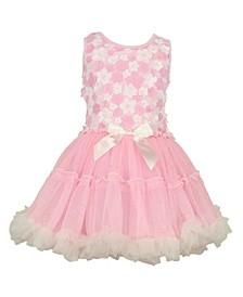 Baby Girls Daisy Flower Ruffle Dress with Soft Sparkling Skirt