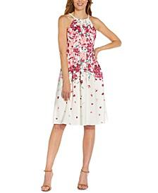 Halter Floral Crepe Dress