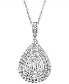 """Diamond Teardrop Cluster Pendant Necklace (1 ct. t.w.) in 14k White Gold or 14k Yellow Gold, 16"""" + 4"""" extender, Created for Macy's"""