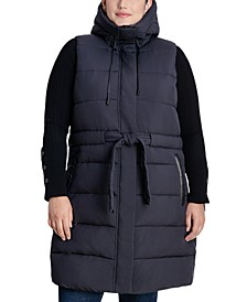 Plus Size Faux-Leather-Trim Hooded Belted Vest