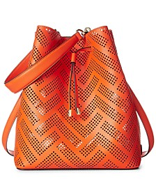 Debby Perforated Leather Drawstring Bag