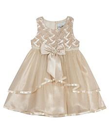 Baby Girls Taupe Basketweave Dress
