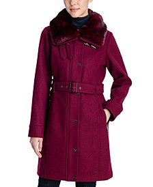 Belted Faux-Fur-Collar Coat