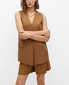 Women's Linen-Blend Pocket Vest