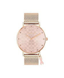 Women's Perry Breast Cancer Awareness Rose Gold-Tone Stainless Steel Mesh Bracelet Watch, 36mm