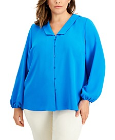 Plus Size Collared Blouse, Created for Macy's