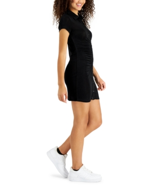 Juniors' Ruched Button-Down Dress