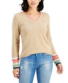 Ivy Rainbow-Cuff V-Neck Sweater