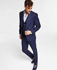 Men's Slim-Fit Blue Plaid Vested Suit Separates, Created for Macy's