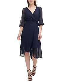 Twisted-Waist Chiffon Dress