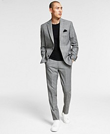 Men's Slim-Fit Black/White Plaid Vested Suit Separates, Created for Macy's