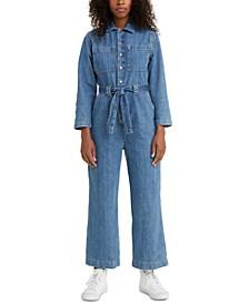 Cotton Cropped Denim Jumpsuit