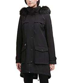 Faux-Fur-Trim Hooded Anorak Raincoat