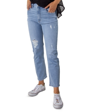 Juniors' Distressed Super High-Rise Straight-Leg Denim Jeans