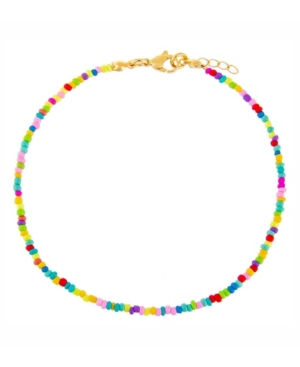 Rainbow Beaded Anklet in Silver Tone Mixed Metal