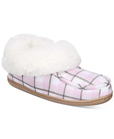 Women's Faux-Fur-Trim Plaid Boot Slippers, Created for Macy's