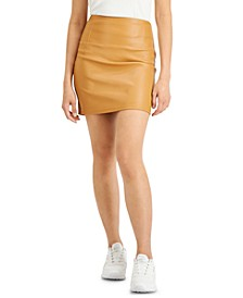 Juniors' Pull-On Faux-Leather Skirt